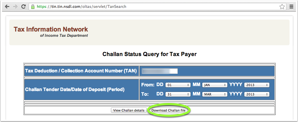 Screenshot of the Challan Status Query form for downloading CSI File